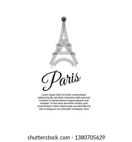 Eiffel tower sketch design, greeting card background