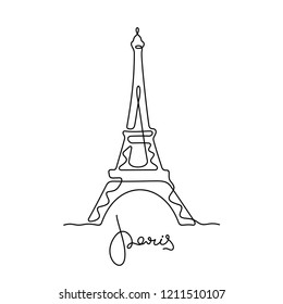 Eiffel tower sketch. Paris continuous line illustration