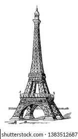 Eiffel Tower stands 984 feet high, top of the tower, second-tallest structure, first and second levels, vintage line drawing or engraving illustration.