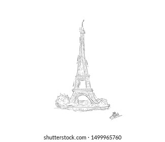 Eiffel tower and trees - City symbol series