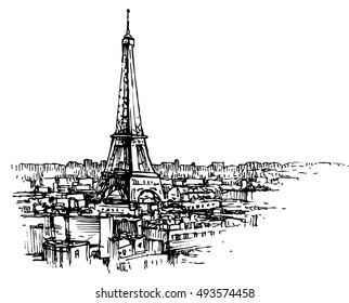 Eiffel tower in the urban environment - hand drawn vector illustration, isolated on white