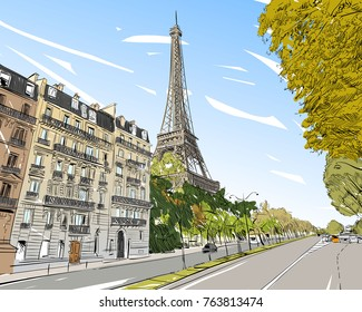 Eiffel Tower vector sketch. Paris, France. Hand drawn vector illustration