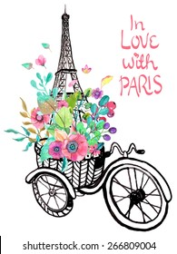 Фотообои Eiffel tower with watercolor flowers, colorful illustration for beautiful design Vector