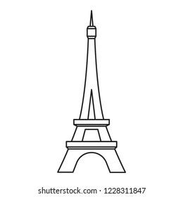 Eiffel tower, world famous landmark in France, vector  illustration, modern concept, outline style