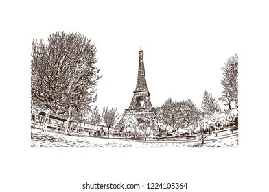 The Eiffel Tower is a wrought iron lattice tower on the Champ de Mars in Paris, France. Hand drawn sketch illustration in vector.