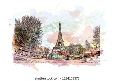 The Eiffel Tower is a wrought iron lattice tower on the Champ de Mars in Paris, France. Watercolor splash with Hand drawn sketch illustration in vector.