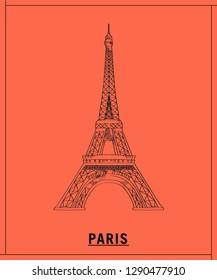Eiffel tower.hand drawn sketch