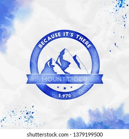 Eiger logo. Round climbing blue vector insignia. Eiger in Alps, Switzerland outdoor adventure illustration. Climbing, trekking, hiking, mountaineering and other extreme activities logo template.