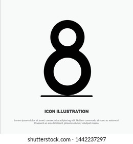 Eight, 8th, 8,  Solid Black Glyph Icon