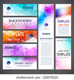Eight abstract design banners vector templates, brochure, element, page, leaflet, with colorful geometric triangular backgrounds, logo and text separately.
