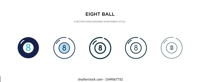 eight ball icon in different style vector illustration. two colored and black eight ball vector icons designed in filled, outline, line and stroke style can be used for web, mobile, ui