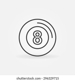 Eight ball icon or logo - vector billiards symbol in thin line style, pool sign