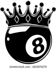 Eight Ball Pool Crown vector illustration design black silhouette
