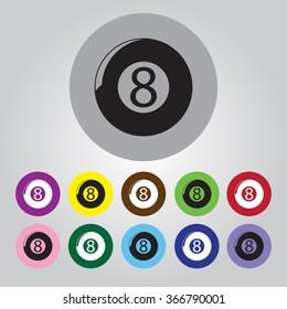 Eight billiard ball sport icon