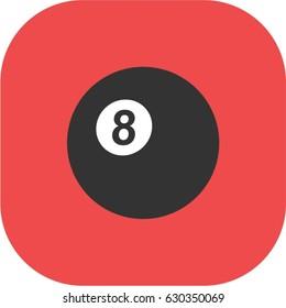 eight black ball icon, billiard logo, red pool