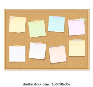 Eight blank paper notes on bulletin board, vector eps10 illustration