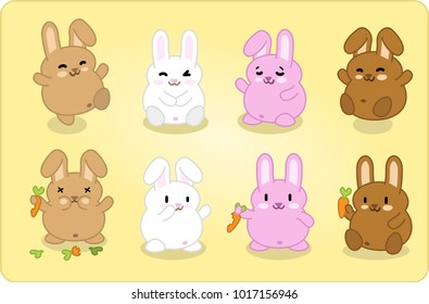 Eight bunnies in different colors, jumping, smiling or chewing on carrots (vector cartoon creatures)