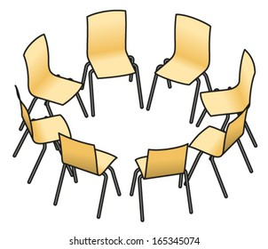 Eight Chairs Arranged In A Circle For Group Work, Or Group Therapy.