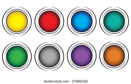Eight color buttons on a white background