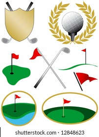 Eight Color Golf Icons including a golf ball, shield, clubs and flags
