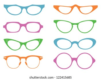 Eight colourful vintage spectacle frames on a white background