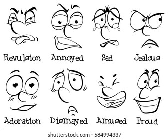 Eight different facial expressions illustration