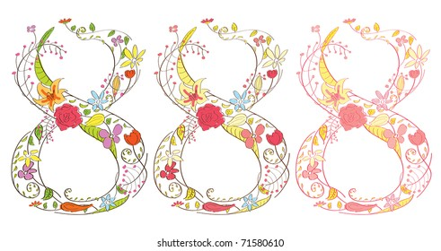 Eight digit composed from beautiful flowers and leaves