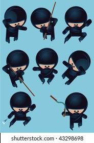 eight funny cartoon ninja characters, vector illustration