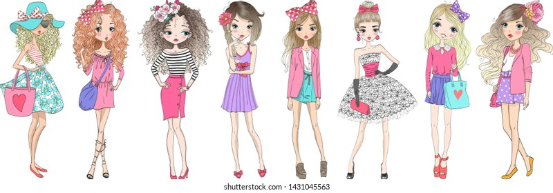 Eight hand drawn beautiful cute cartoon summer fasshion girls. Vector illustration.