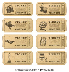 Eight hi quality vector cinema tickets. Each ticket is organized in three layers, separating background from art and text.