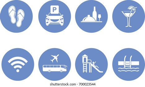 Eight icons for the design of the hotel website. Vector