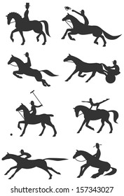 Eight Icons / Silhouettes of famous equestrian sports