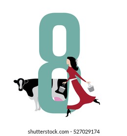 Eight maids a milking Christmas illustration. EPS 10 vector.