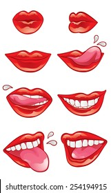 Eight mouths with red lustrous lips in different positions and performing different actions: blowing a kiss, smiling, licking, biting, showing teeth and tongue.