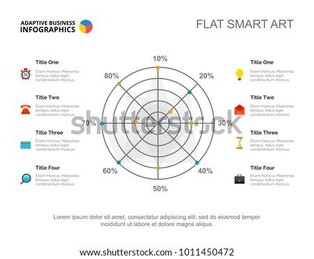 eight options radar chart slide template stock vector royalty free