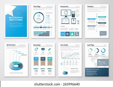 Eight pages of infographic brochures and flyers for business data visualization. Use for marketing, websites, print, annual report and business presentations.