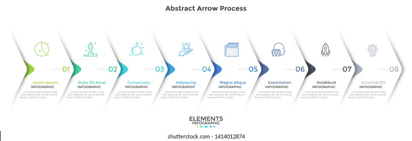 Eight paper white overlapping arrows placed in horizontal row. Concept of 8 successive steps of progressive business development. Simple infographic design template. Abstract vector illustration.