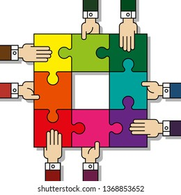 Eight people hands putting puzzle 8 pieces. Teamwork business concept. Idea working together banner. Colaborative people design vector puzzle illustration. Hand business man connecting puzzle elements