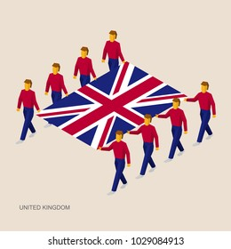 Eight people hold big flag of United Kingdom (UK). 3D isometric standard bearers. British sport team. Simple vector illustration for infographic.