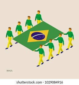 Eight people hold big flag of Brazil. 3D isometric standard bearers. Brazilian sport team. Simple vector illustration for infographic.