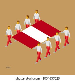 Eight people hold big flag of Peru. 3D isometric standard bearers. Peruvian sport team. Simple vector illustration for infographic.