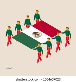Eight people hold big flag of Mexico. 3D isometric standard bearers. Mexican sport team. Simple vector illustration for infographic.