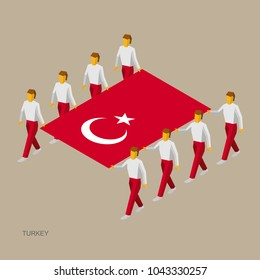 Eight people hold big flag of Turkey. 3D isometric standard bearers. Turkish sport team. Simple vector illustration for infographic.