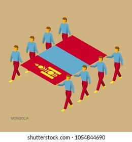 Eight people hold big flag of Mongolia. 3D isometric standard bearers. Mongolian sport team. Simple vector illustration for infographic.