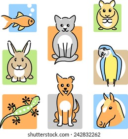 Eight pet animal icons