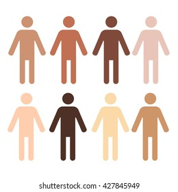 eight pictograms of human figures with different skin color