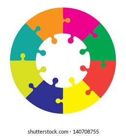 Eight piece jigsaw wheel in different colors