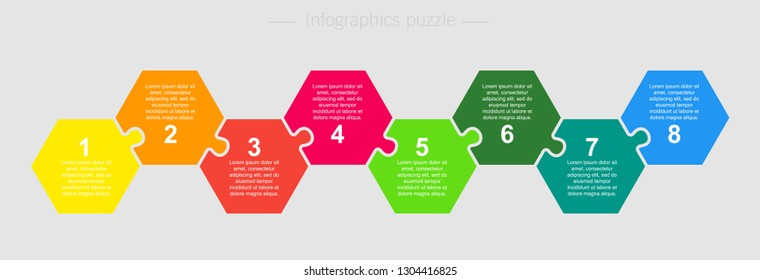 Eight pieces puzzle hexagon diagram. Hexagonal business presentation infographic. 8 steps, parts, pieces of process diagram. Section compare banner. Jigsaw puzzle info graphic. Marketing strategy.
