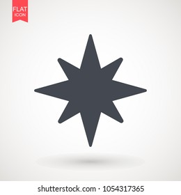 Eight point star vector shape , grey favorite web symbol. Star Icon vector. Simple flat symbol . Perfect pictogram illustration on white background