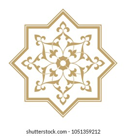 Eight pointed circular abstract golden floral pattern on white bacground. Round vector ornament in Arabic style. Arabesque.